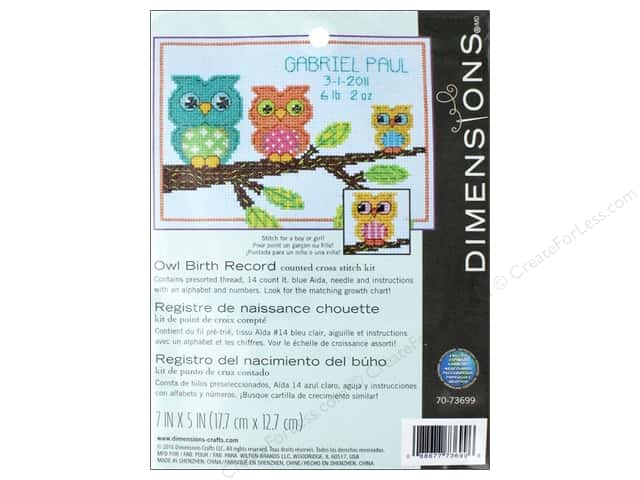 Dimensions Counted Cross Stitch Kit 7 x 5 in. Owl Birth Record