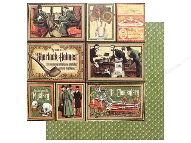 """Graphic 45 Collection Master Detective Paper 12""""x 12"""" It's Elementary (25 pieces)"""