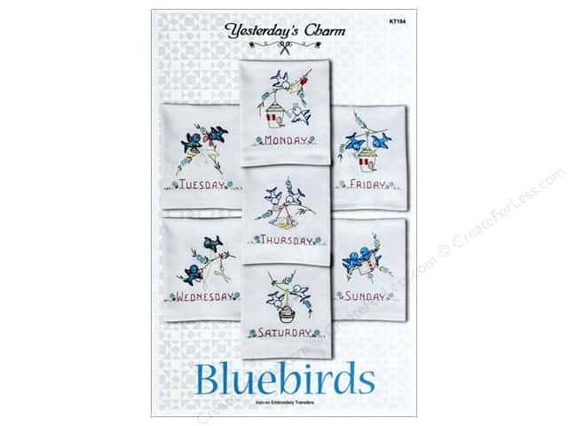 Yesterday's Charm Bluebirds Iron-On Embroidery Transfers