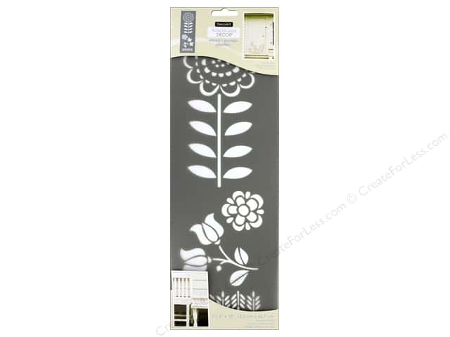 DecoArt Stencil Americana Decor 6 in. x 18 in. Folk Flowers