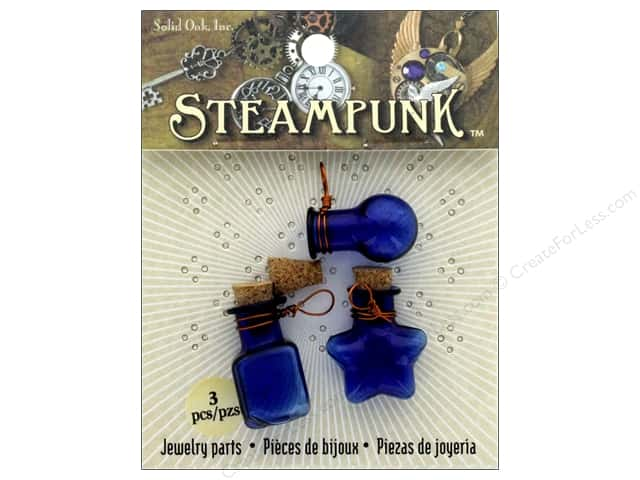 Solid Oak Pendant Steampunk Bottles Cobalt Blue