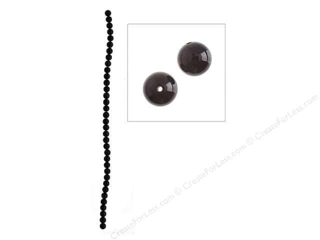 John Bead Semi Precious Bead 16 in. Obsidian 6 mm Natural Black