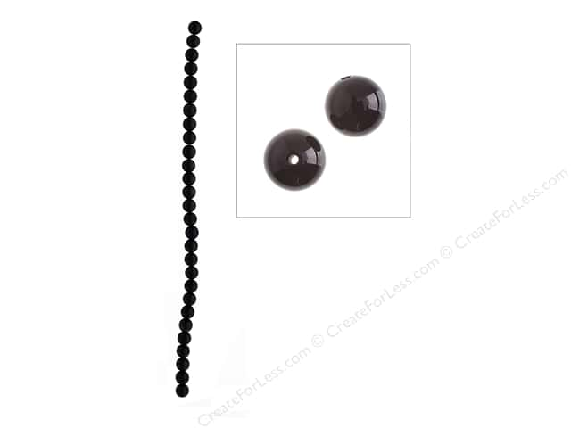 John Bead Semi Precious Bead 16 in. Obsidian 8 mm Natural Black