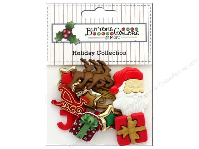 Buttons Galore Theme Button Holiday Santa's Sleigh Ride