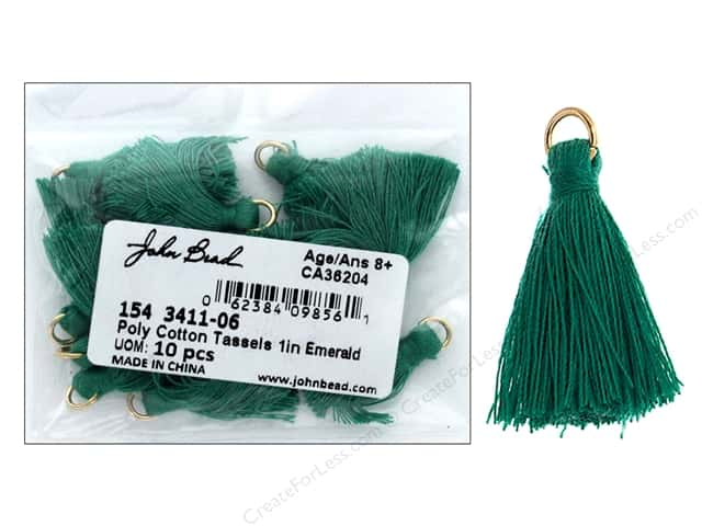 "John Bead Tassel Poly Cotton 1"" Emerald 10pc"