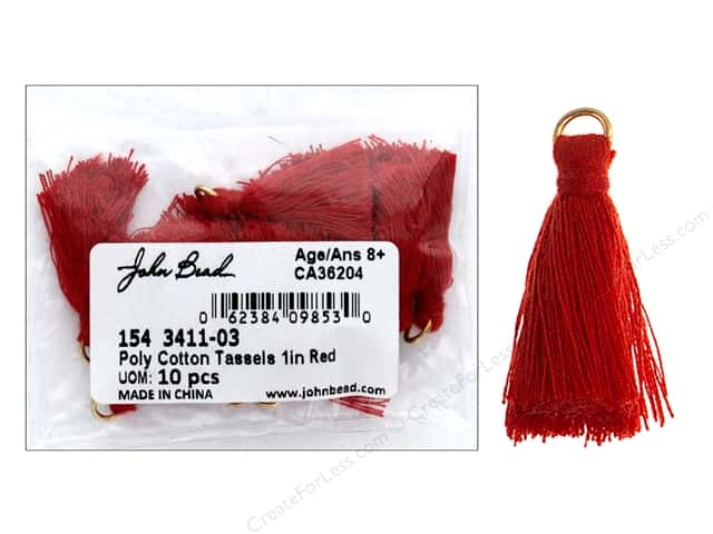 "John Bead Tassel Poly Cotton 1"" Red 10pc"