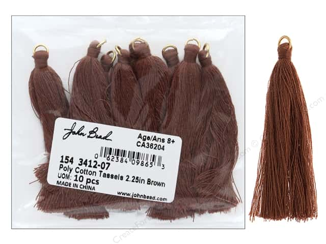 "John Bead Tassel Poly Cotton 2.25"" Brown 10pc"