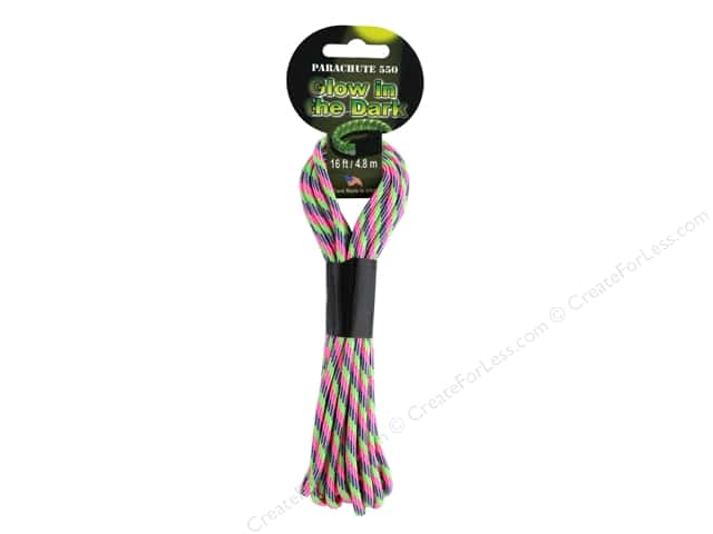 Pepperell Parachute Cord 550 Nylon 16ft Sweet Tart Glow
