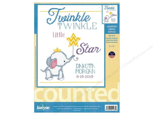 "Janlynn Cross Stitch Kit 9""x 12"" Twinkle Twinkle Little Star Birth Announcement"