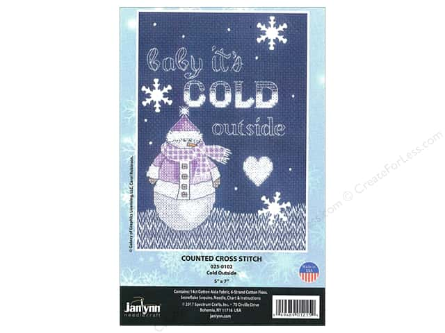 "Janlynn Cross Stitch Kit 5""x 7"" Cold Outside"