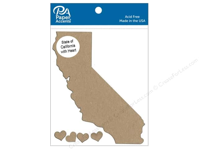 Paper Accents Chip Shape State of California with Heart Natural 4pc