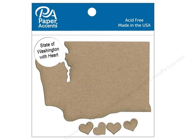 Paper Accents Chip Shape State of Washington with Heart Natural 4pc
