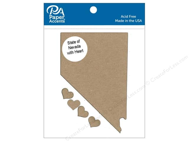 Paper Accents Chip Shape State of Nevada with Heart Natural 4pc