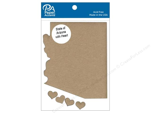 Paper Accents Chip Shape State of Arizona with Heart Natural 4pc