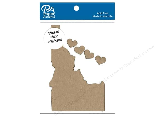 Paper Accents Chip Shape State of Idaho with Heart Natural 4pc