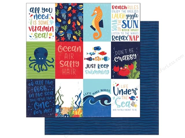 "Echo Park Collection Under The Sea Paper 12""x 12"" Journaling Cards 3""x 4"""