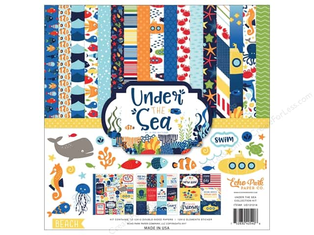 """Echo Park Collection Under The Sea Paper 12""""x 12"""" Collection Kit"""