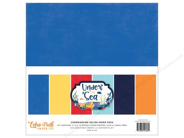 Echo Park Collection Under The Sea Paper Pack 12 in. x 12 in.  Solids