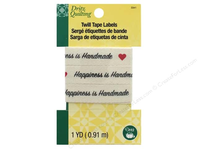 Dritz Label Quilting Twill Tape Happiness Is Handmade 36""