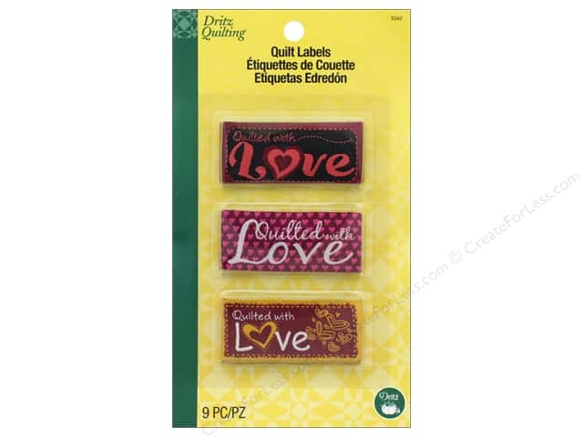 Dritz Label Quilt Embroidered Sew In Quilted With Love Assorted 9pc