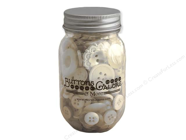 Buttons Galore Button Mason Jar Antique White