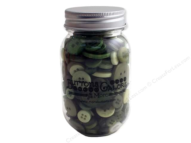 Buttons Galore Button Mason Jar Leafy Green