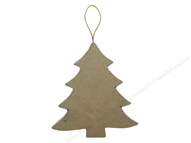 PA Paper Mache Flat Tree Ornament 3 3/4 in.