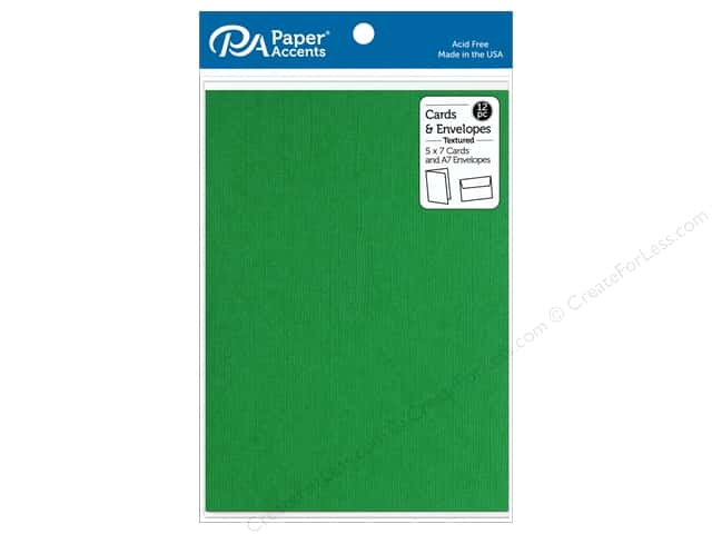 """Paper Accents Card & Envelopes 5""""x 7"""" Textured Christmas Green 12pc"""