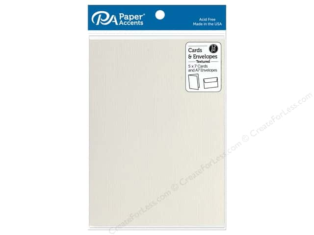 "Paper Accents Card & Envelopes 5""x 7"" Textured French Vanilla 12pc"