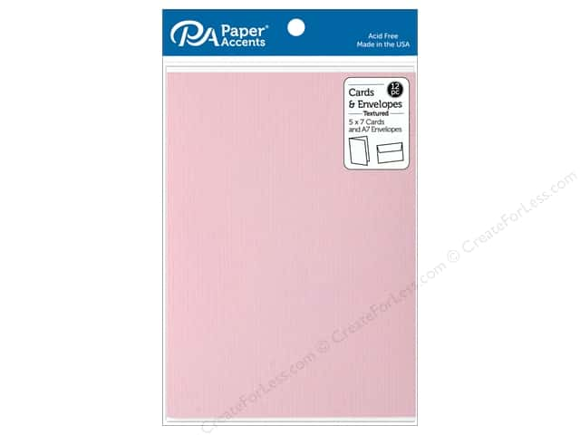 Paper Accents Card & Envelopes 5 in. x 7 in. Textured Berry Blush 12 pc