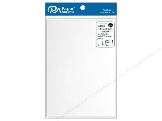 "Paper Accents Card & Envelopes 5""x 7"" Textured Bright White 12pc"