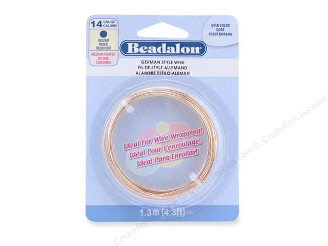 Beadalon German Style Wire Round 14ga Gold Color 1.3 M