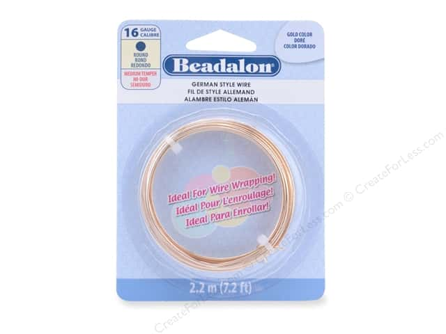 Beadalon German Style Wire Round 16 ga Gold Color 2.2 M