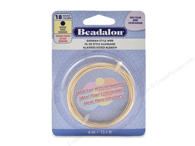 Beadalon German Style Wire Round 18 ga Gold Color 4 M
