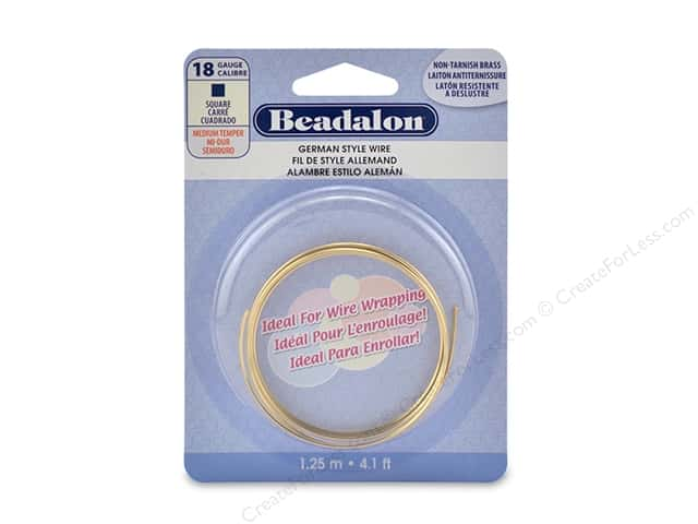 Beadalon German Style Wire Square 18 ga Tarnish Resistant Brass 1.25 M
