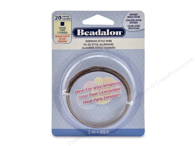 Beadalon German Style Wire Square 20 ga Antique 2 M