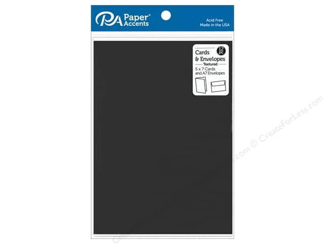 "Paper Accents Card & Envelopes 5""x 7"" Textured Deep Black 12pc"