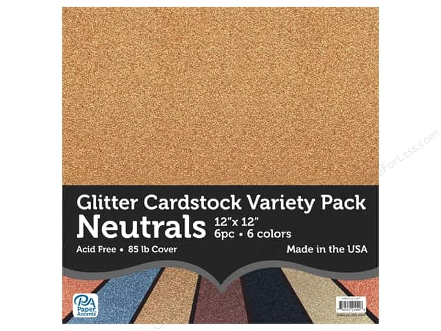 Paper Accents Glitter Cardstock Variety Pack 12 x 12 in. Neutrals 6 pc.