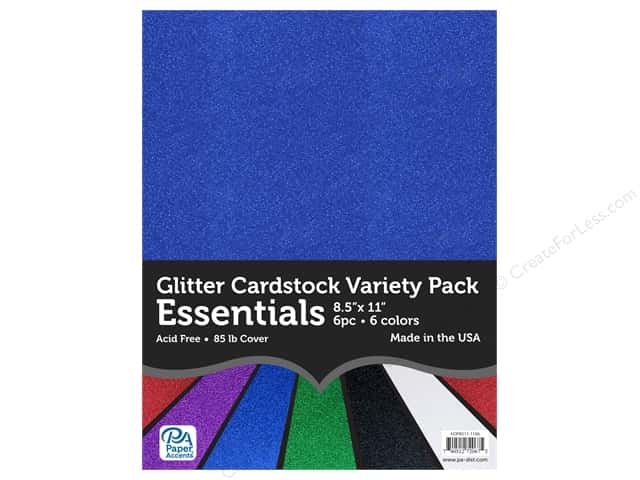 Paper Accents Glitter Cardstock Variety Pack 8 1/2 x 11 in. Essentials 6 pc.