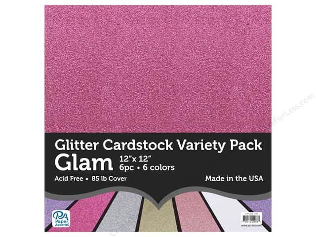 Paper Accents Glitter Cardstock Variety Pack 12 x 12 in. Glam 6 pc.