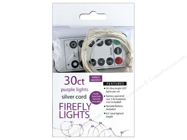 Sierra Pacific Crafts Lights Firefly LED 30ct Chasing With Remote Purple/Silver Cord