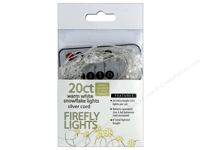 Sierra Pacific Crafts Lights Firefly LED 20 ct Snowflake With Remote Warm White/Silver Cord