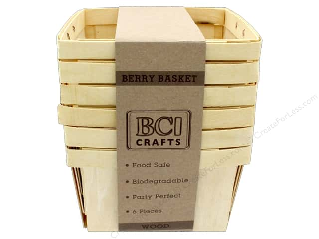 BCI Crafts Berry Baskets Wood Large 6pc
