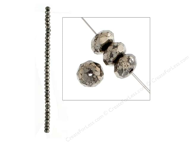 John Bead Semi Precious Bead 8 in.Pyrite 8 mm Rondelle Faceted