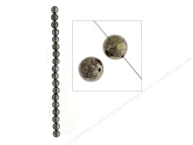 John Bead Semi Precious Bead 8 in. Pyrite 10 mm Round