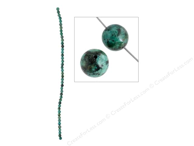 John Bead Semi Precious Bead 8 in. African Turquoise 4 mm Round