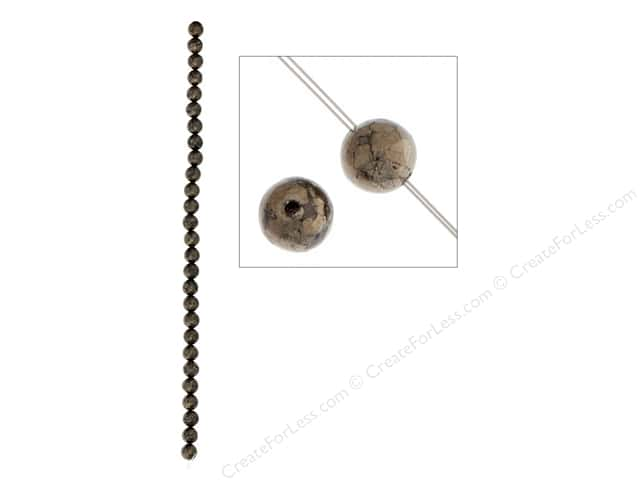 John Bead Semi Precious Bead 8 in. Pyrite 6 mm Round