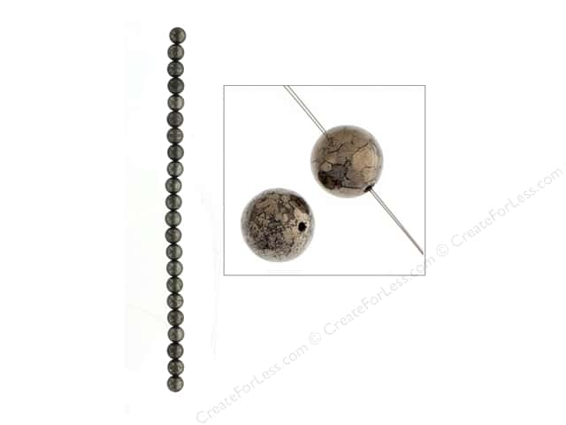 John Bead Semi Precious Bead 8 in. Pyrite 8 mm Round
