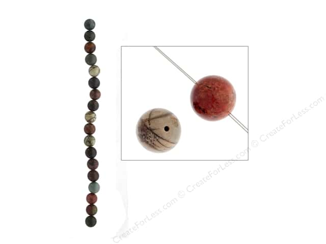 John Bead Semi Precious Bead 8 in. Jasper 10 mm Round Red Creek