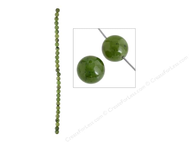John Bead Semi Precious Bead 8 in. Jade (Canadian) 6 mm Round